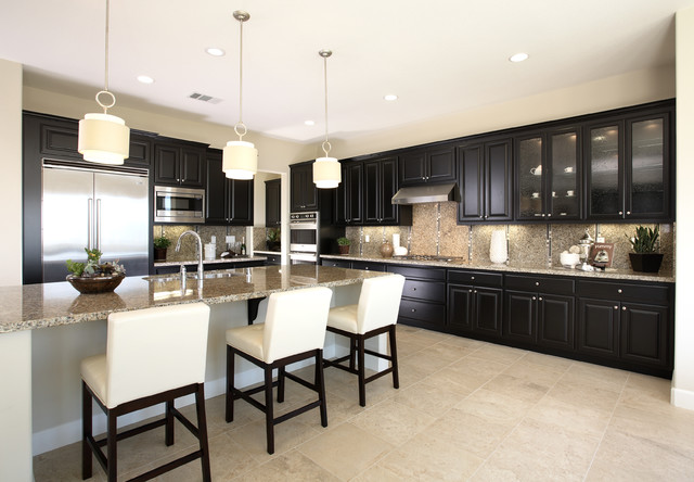 Kitchen - traditional kitchen idea in San Francisco with raised-panel cabinets, black cabinets, granite countertops, multicolored backsplash and stainless steel appliances