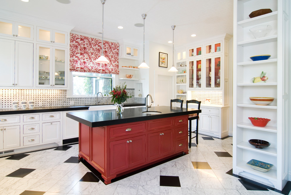Example of a classic kitchen design in San Francisco with beaded inset cabinets and red cabinets