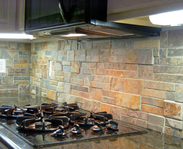 natural stone back splash traditional kitchen chicago by