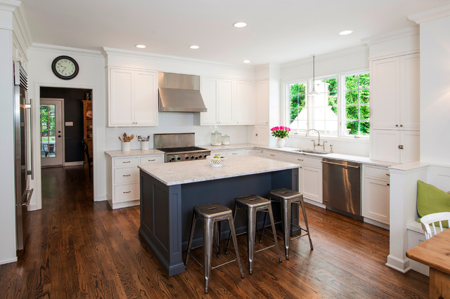 Elegant L Shaped Kitchen Photo In Baltimore With Stainless Steel Appliances An Undermount Sink