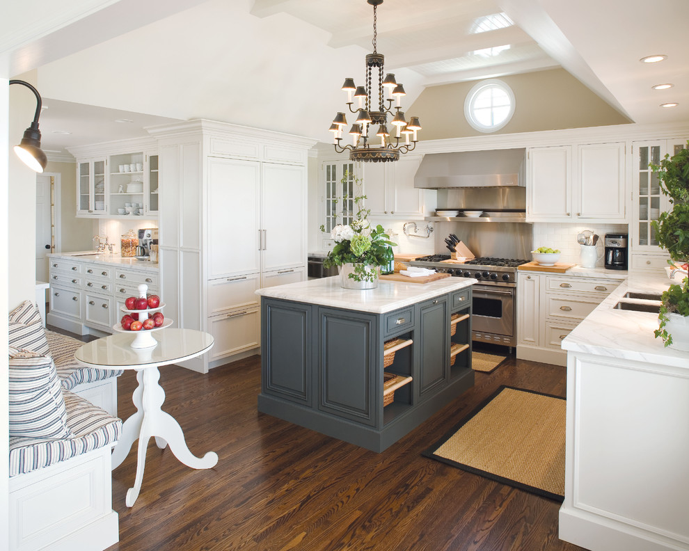 Inspiration for a timeless kitchen remodel in Minneapolis with paneled appliances