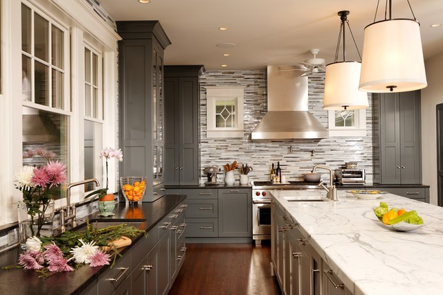 Grey kitchen ideas houzz for Kitchen cabinets houzz