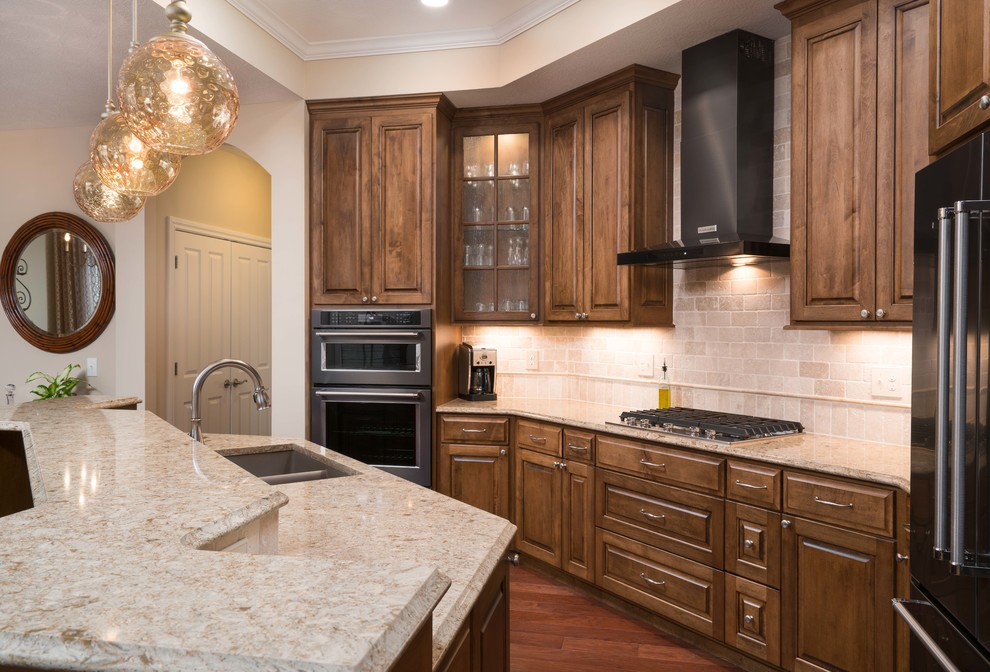 Traditional Kitchen with Black Stainless Appliances ...