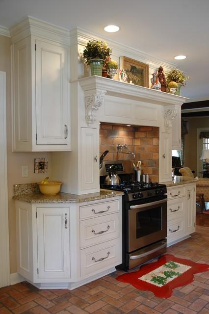 Traditional Kitchen with Brick Flooring