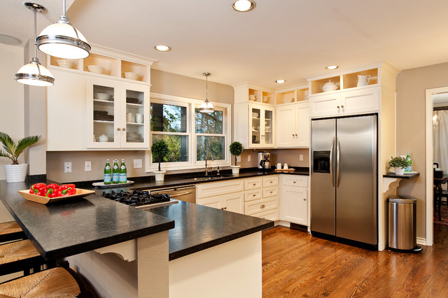 Traditional Kitchen With Stainless Steel Hardwood Floors