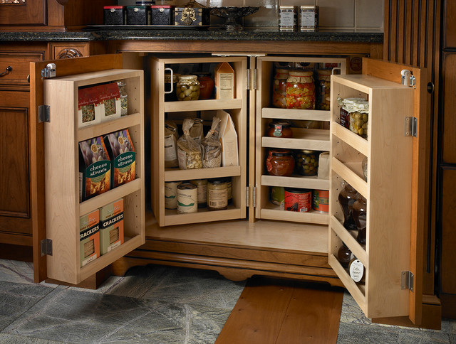 Elegant Kitchen Pantry Photo In Other With Beaded Inset Cabinets And Medium  Tone Wood Cabinets