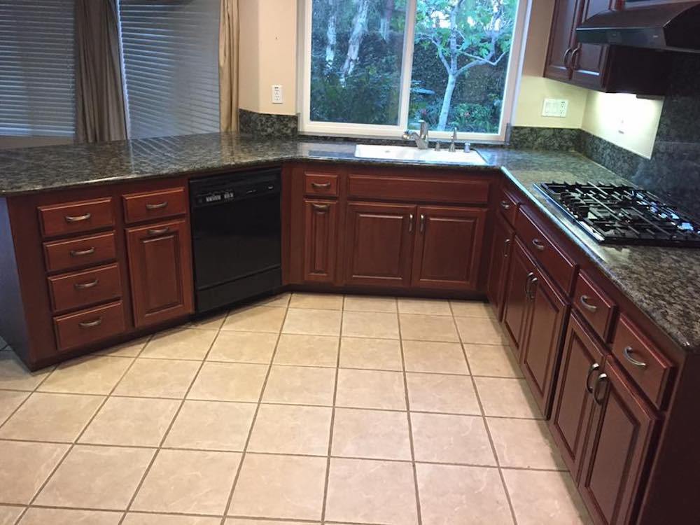 Traditional Maple Wood Cabinets with Burgundy Stain