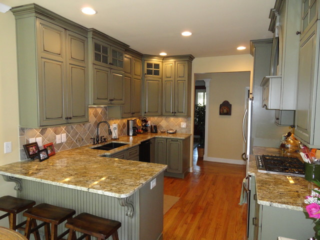 Traditional Painted Distressed Glazed Kitchen traditional-kitchen