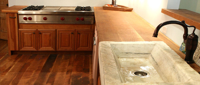 Old Growth Cherry Flooring & Countertop traditional-kitchen