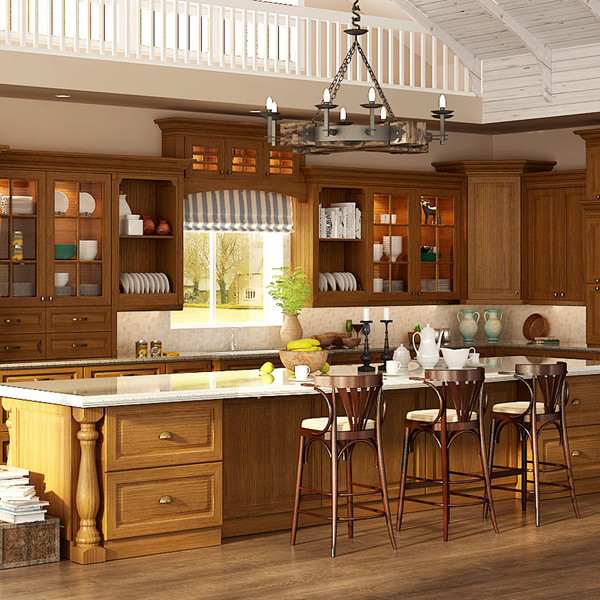 Traditional Red Oak Wood Kitchen Cabinet OP15-S03