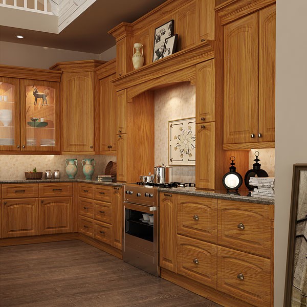 Red Oak Kitchen Cabinets: Traditional Red Oak Wood Kitchen Cabinet OP15-S11