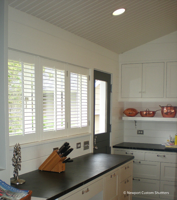 Traditional small louver shutters traditional-kitchen
