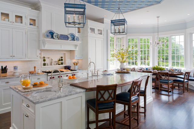 White And Grey Traditional Kitchen traditional white and blue kitchen - traditional - kitchen - new