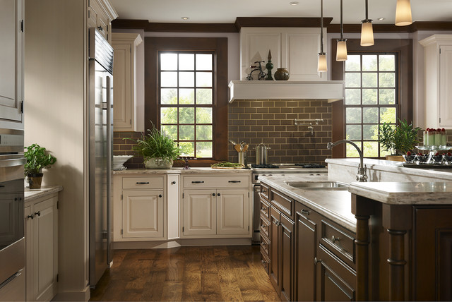 Traditional White and Brown Kitchen - Traditional - Kitchen ...