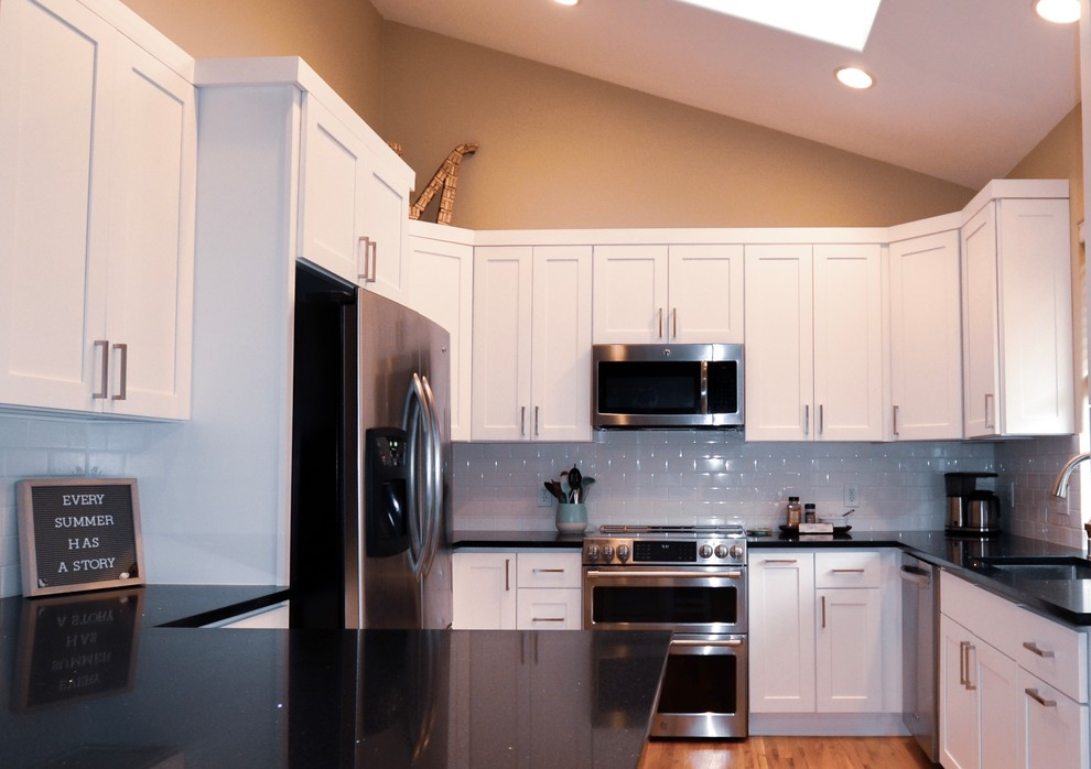 Traditional White Kitchen, Galaxy Granite Countertops ... on Light Maple Cabinets With White Countertops  id=46785