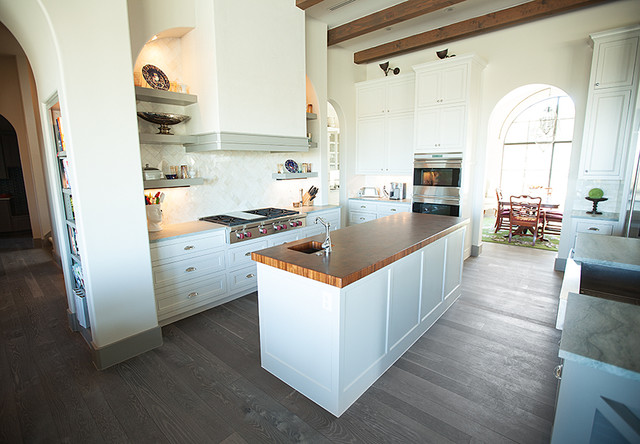 Traditional White Kitchen Grey FloorWhite Oak Traditional - Grey wood floor white kitchen