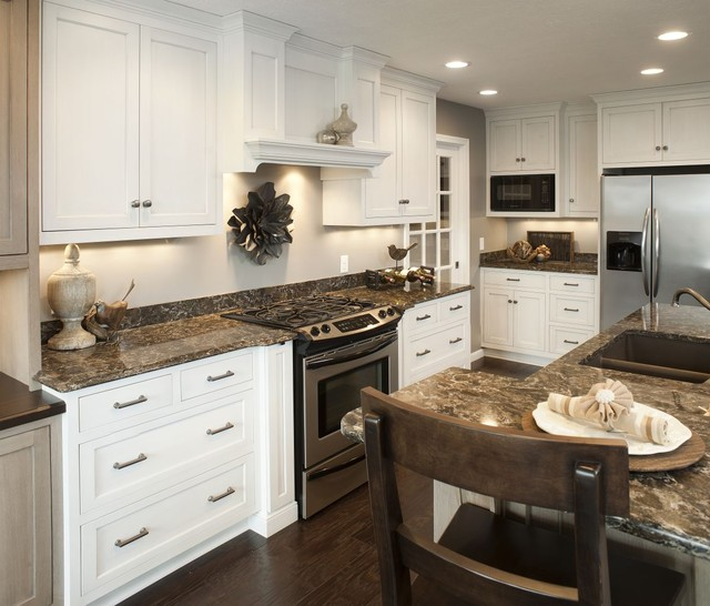 Kitchen Island Accent Color: Traditional White Kitchen W/ Accent Island