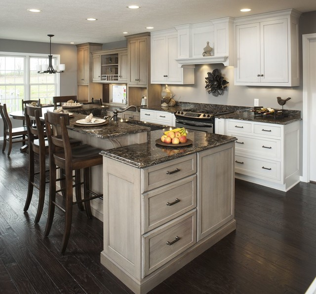 Traditional White Kitchen W Accent Island Traditional