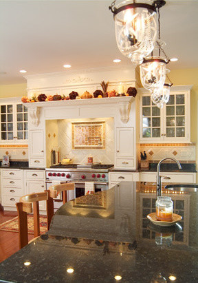 Traditional White Kitchen with Bee Tile traditional-kitchen