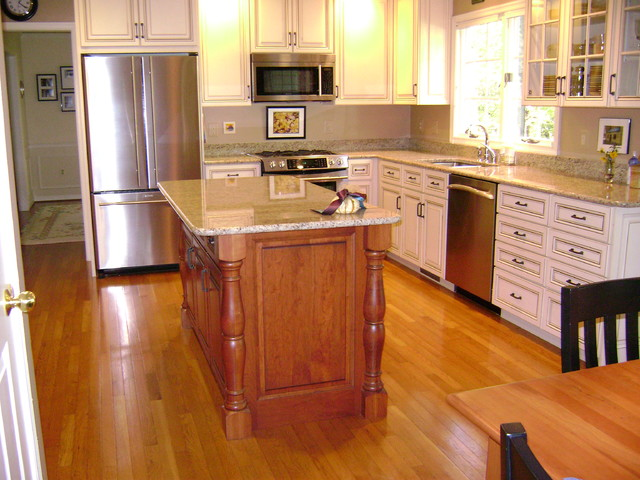 Traditional White Kitchen with Contrasting Cherry Island in Occoquan, VA - Traditional - Kitchen ...