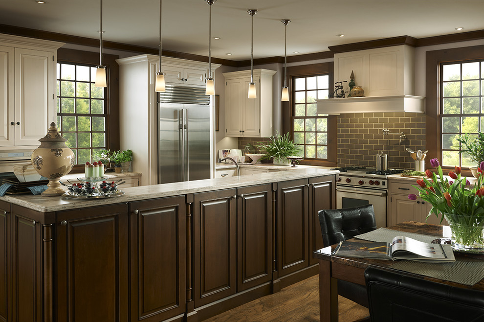 Traditional White Kitchen with Large Brown Island ...