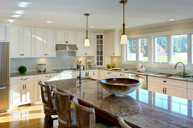 Tradtional Kitchen Addition With Center Island Granite