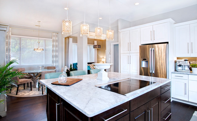 Tradtional White Kitchen With Espresso Island Contemporary Kitchen