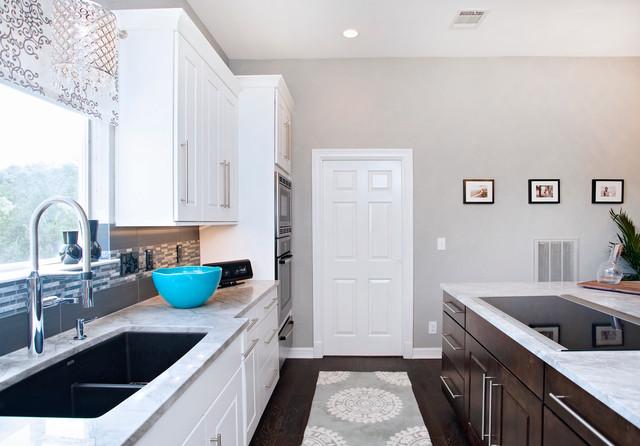 Tradtional White Kitchen with Espresso Island contemporary-kitchen