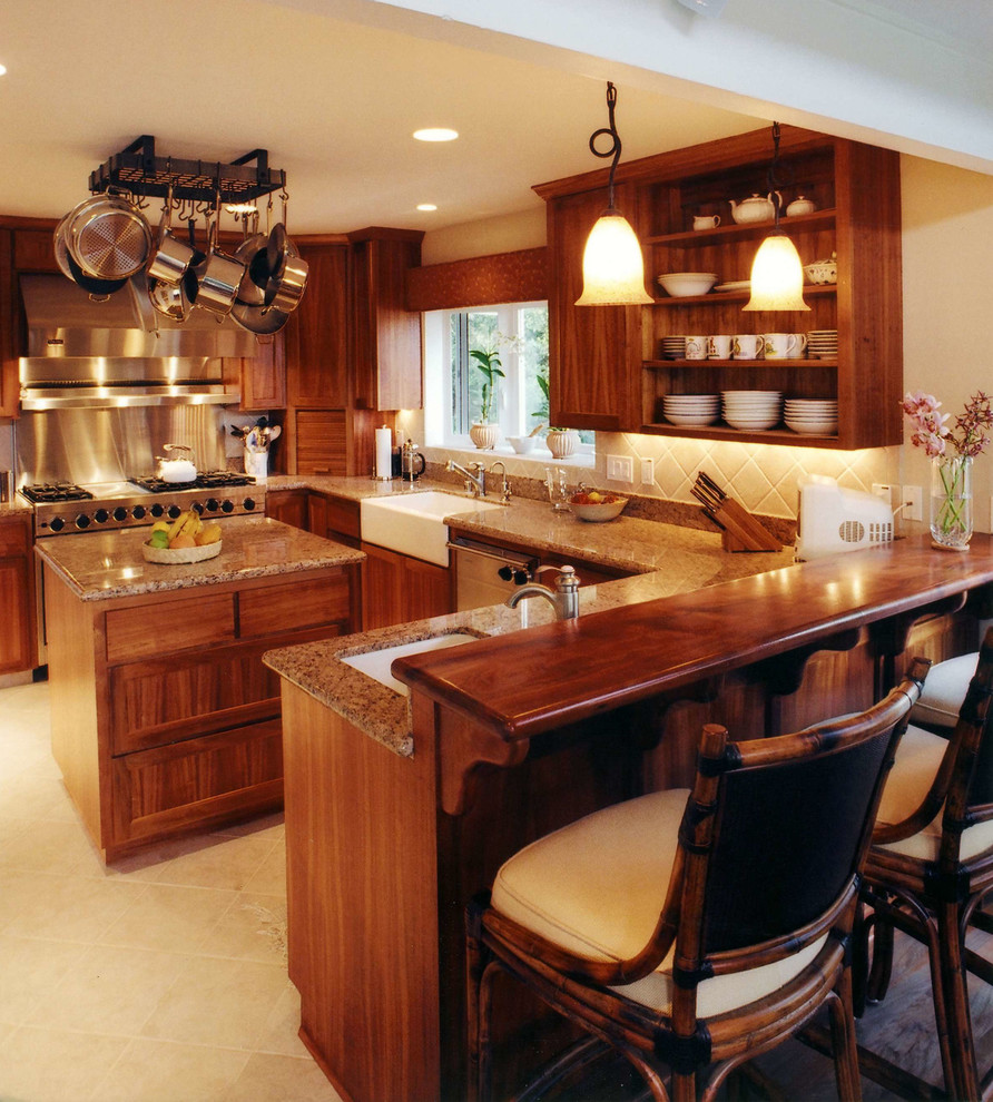 Inspiration for a tropical kitchen remodel in Hawaii with a farmhouse sink, open cabinets and medium tone wood cabinets