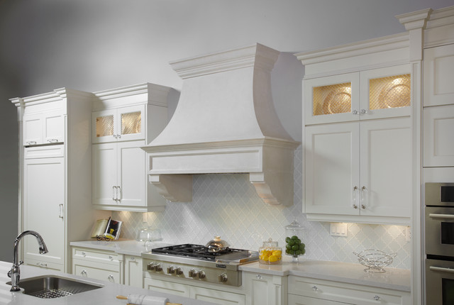 Transistional White Cast Stone Kitchen Hood In Seattle