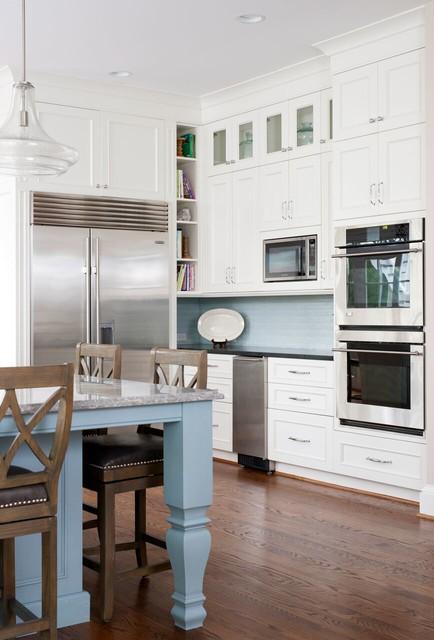 Transitional Blue Accent Kitchen