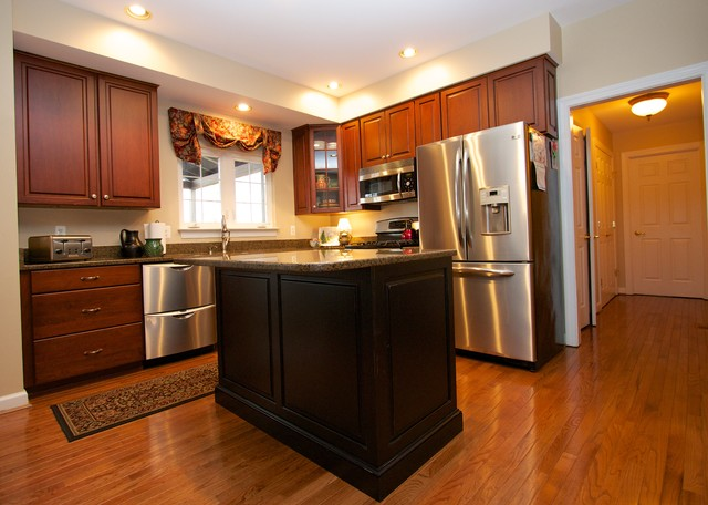 Transitional Cherry Kitchen with Contrasting Island in ...