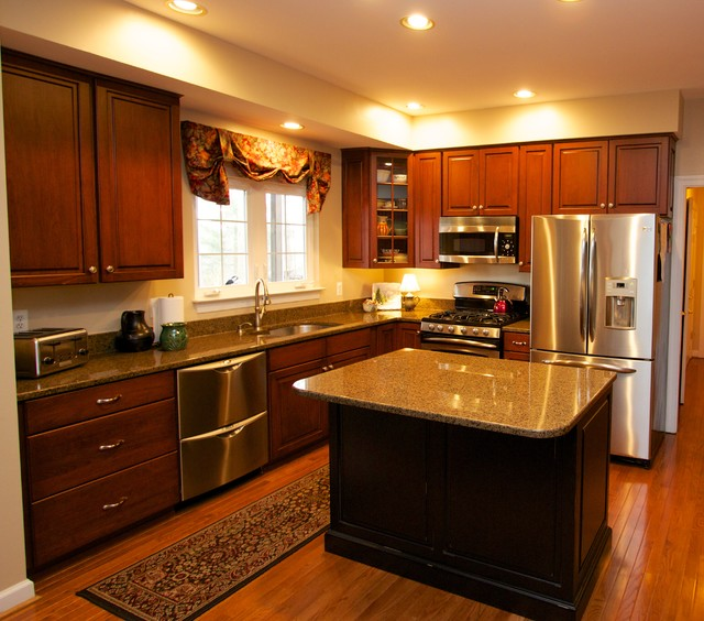 Kitchen Cabinets Md: Transitional Cherry Kitchen With Contrasting Island In