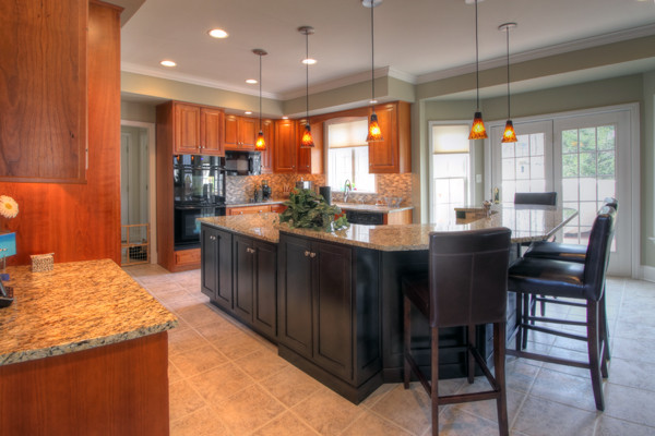Transitional Cherry kitchen with Medium Cherry perimter and dark cherry island contemporary kitchen