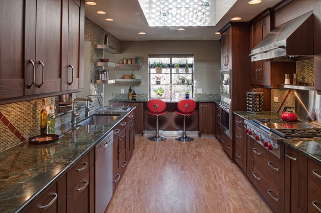 Transitional galley kitchen contemporary kitchen for Two way galley kitchen designs