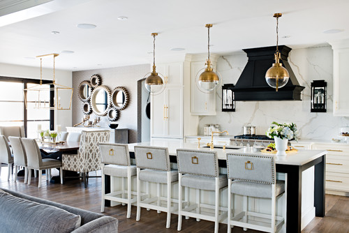 Transitional luxe kitchen featuring shades of gray, off-white, and copper