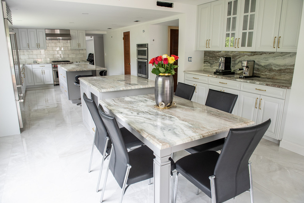 Transitional Kitchen Done In A 2 Tone Color With Integrated Dining Table Transitional Kitchen Miami By Kitchen Solvers Of Miami