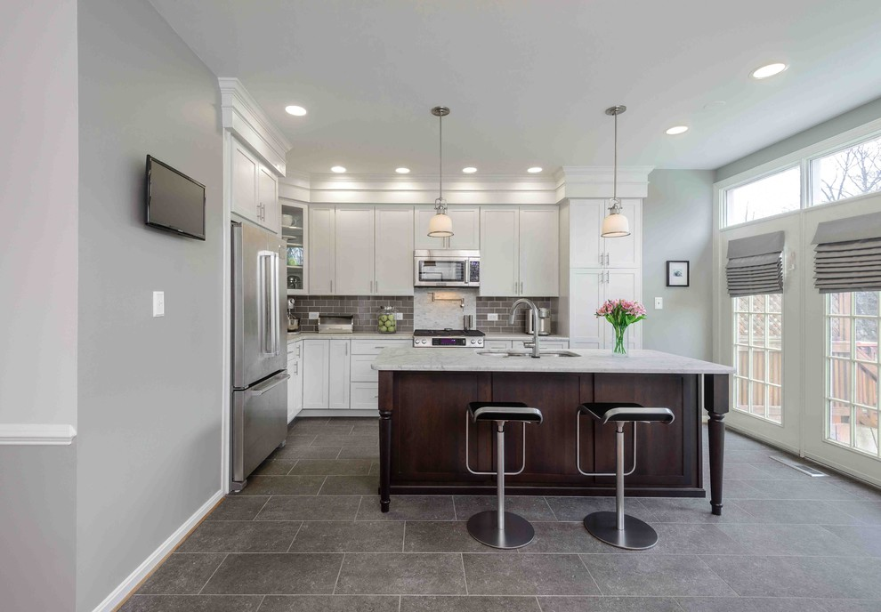 Transitional gray floor kitchen photo in Other with stainless steel appliances
