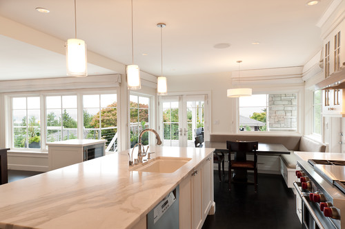 Pendant lights over island