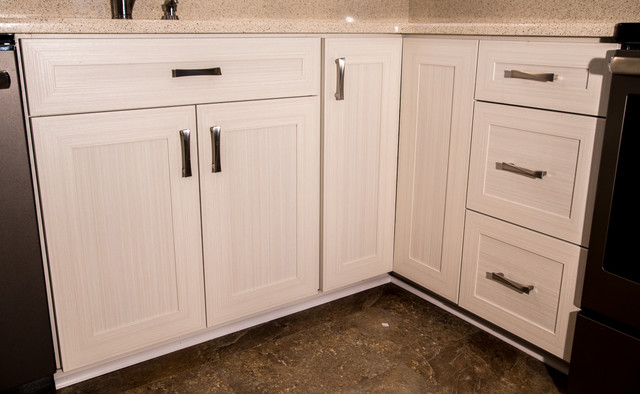 Transitional kitchen refaced in white chocolate laminate for Baltimore kitchen cabinets