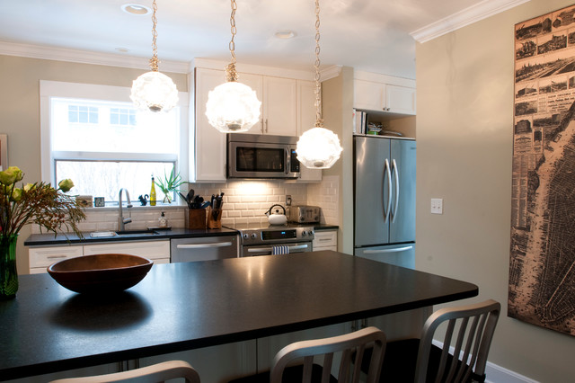 Transitional kitchen remodel in colonial home with for Kitchen remodel colonial home