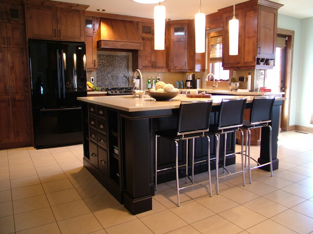Transitional Kitchen remodel with black island Contemporary