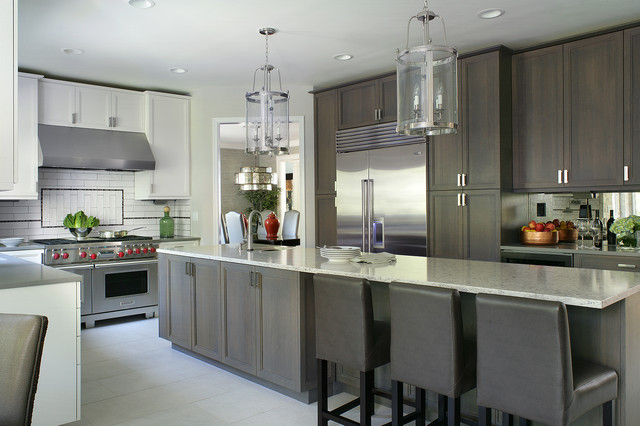 Exceptional Example Of A Mid Sized Transitional Porcelain Floor Eat In Kitchen Design New