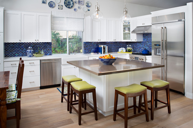 example of a transitional l shaped kitchen design in san diego with white cabinets - Square Kitchen Island