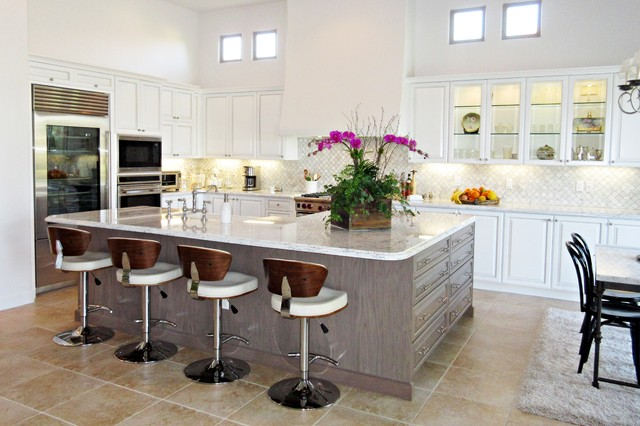 Transitional Kitchen White And Gray Cabinetry Carrera Marble Countertop
