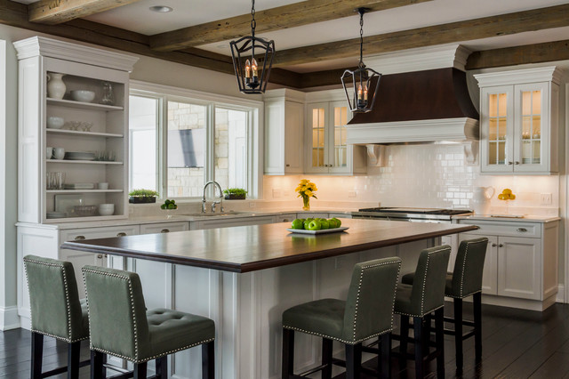 Transitional kitchen with barn beams transitional for Transitional kitchen designs photo gallery