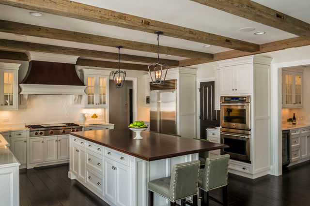 Transitional Kitchen With Barn Beams Transitional Kitchen