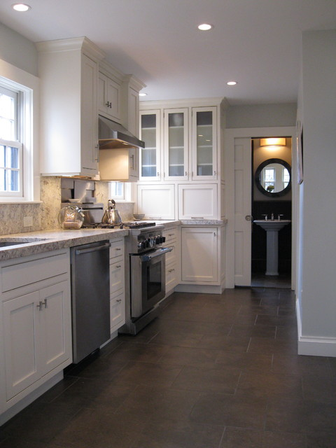 Transitional kitchen with custom cabinets & powder room with marble floor traditional kitchen