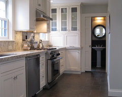 Transitional kitchen with custom cabinets & powder room with marble floor traditional-kitchen