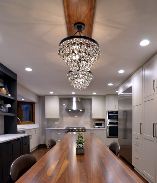 Kitchen Cabinets Naperville: Transitional Kitchen With Gray & Walnut Accents In